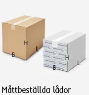 Wellpapp lådor måttbeställda med tryck
