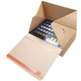 Självlåsande lådor med förslutningsremsa brun